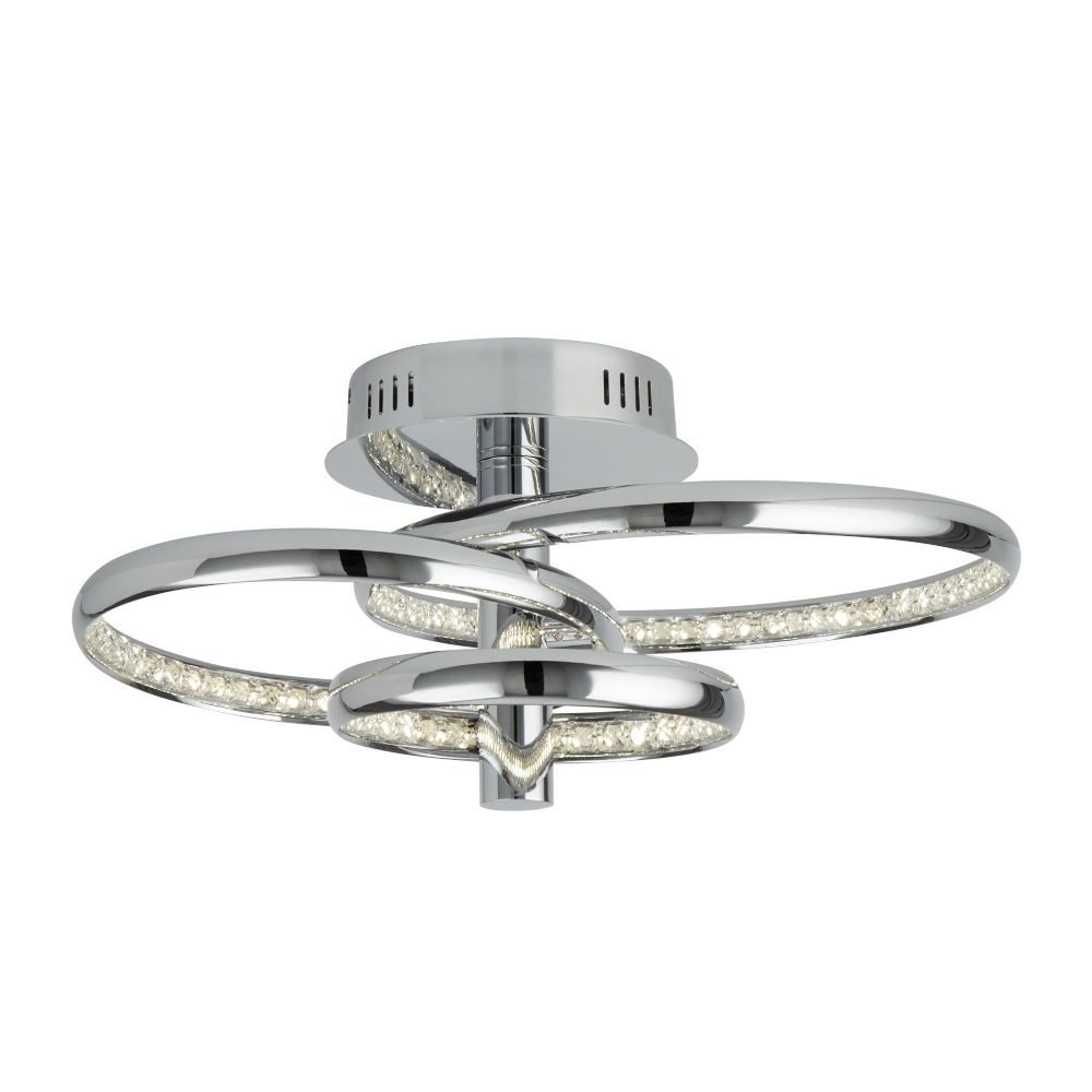 3 Rings Led Ceiling Flush, Chrome, Clear Crystal (Double Insulated)  BX3133-3CC-17